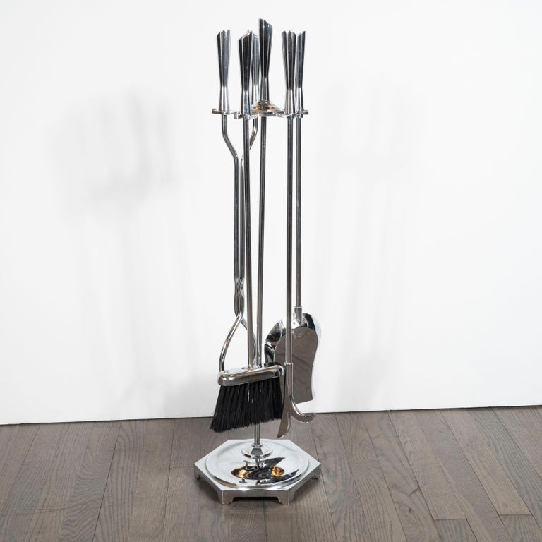 Mid-20th Century Mid-Century Modern Five-Piece Chrome Fire Place Tool Set For Sale