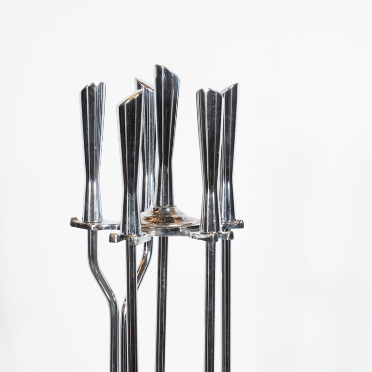 Mid-Century Modern Five-Piece Chrome Fire Place Tool Set For Sale 1