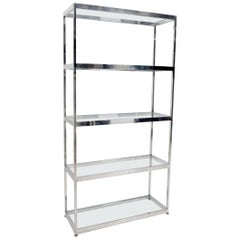 Mid-Century Modern Five Shelves Chrome and Glass Shelving Unit Étagère
