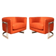 Mid-Century Modern Flair Pair of Chrome Wrapped Lounge Chairs 1980s Baughman Era