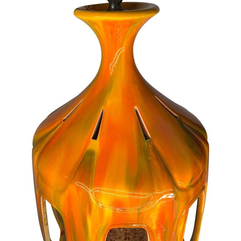 Mid-Century Modern Flaming Orange Ceramic Pendant In Good Condition For Sale In Haddonfield, NJ