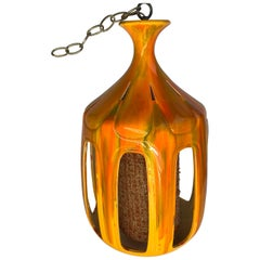Mid-Century Modern Flaming Orange Ceramic Pendant