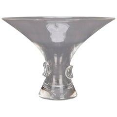 Mid-Century Modern Flared Steuben Glass Works Signed Crystal Flared Vase