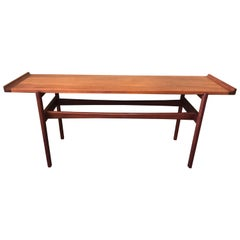 Mid-Century Modern Flared Teak Console Table by Jens Risom