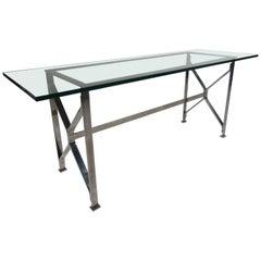 Mid-Century Modern Flat Bar Chrome Console Table