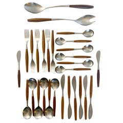 Mid-Century Modern Flatware by Alfred Zanger in Teak and Stainless Steel 30 Pcs