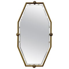 Mid-Century Modern Floating Hexagonal Shaped Mirror in Brass Frame