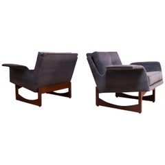 Pair of Mid-Century Modern 'Floating' Lounge Chairs in Walnut and Velvet