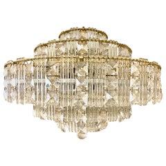 Mid-Century Modern Floating Three-Tiered Crystal Wedding Cake Chandelier