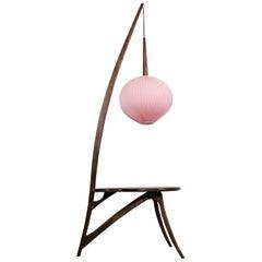 Mid-Century Modern Floor Lamp and American Nut Table