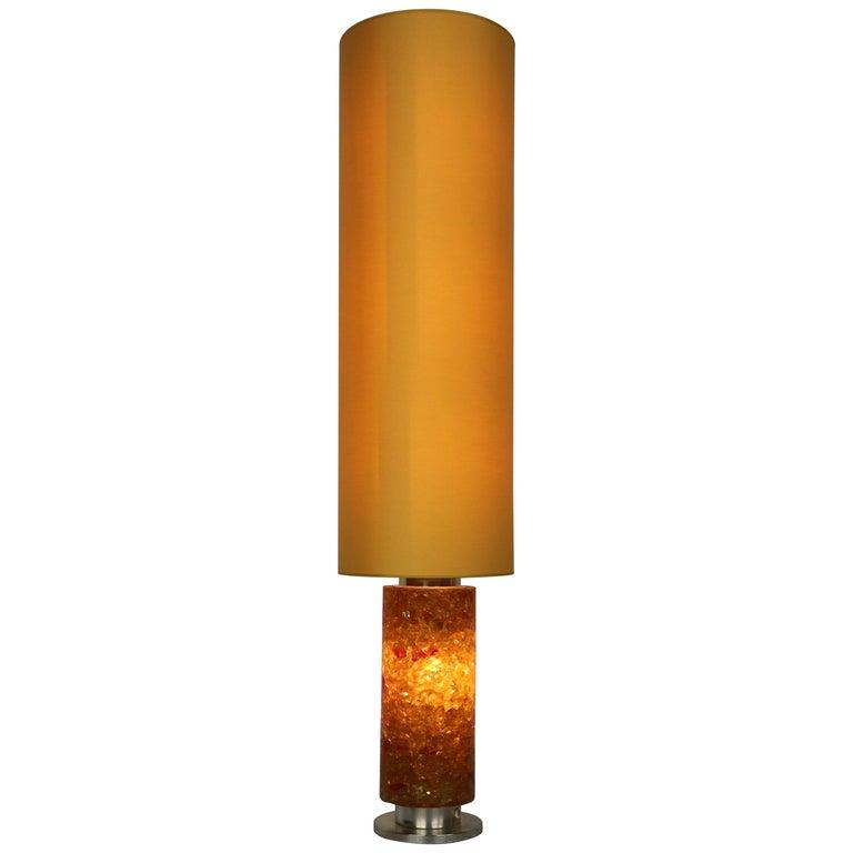 Mid Century Modern Floor Lamp Epoxy Amber Glass 1970s Belgium