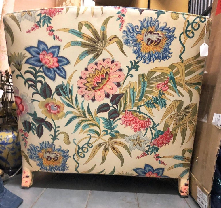 Mid Century Modern Floral Chintz Fully Upholstered
