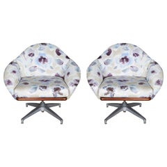 Mid-Century Modern Floral Swivel Base Chairs, a Pair