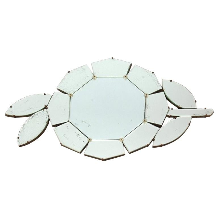 Mid-Century Modern Floral Wall Mirror For Sale