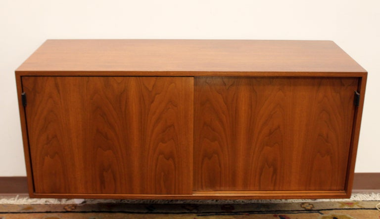American Mid-Century Modern Florence Knoll Floating Hanging Wall Mount Cabinet Credenza For Sale