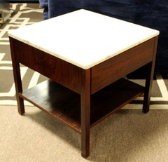 Mid-Century Modern Florence Knoll Nightstand Side Table Rosewood & Marble, 1960s