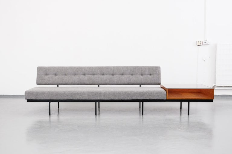 Mid-Century Modern Florence Knoll Sofa with Walnut Table Attachment, 1950s