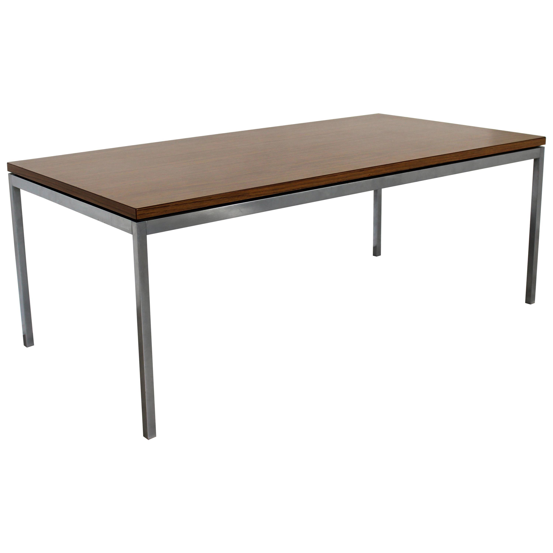 Mid-Century Modern Florence Knoll Walnut Laminate Steel Leg Coffee Table, 1960s