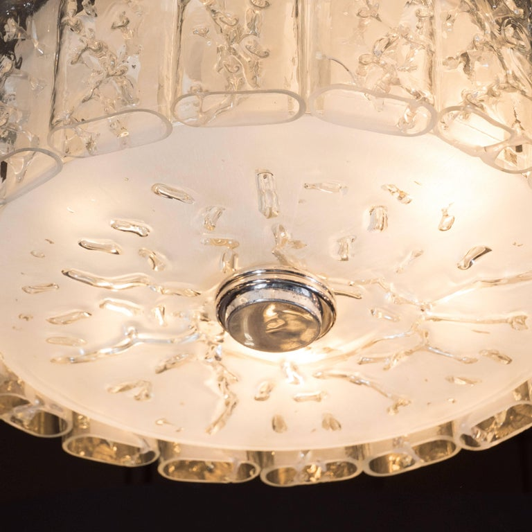 German Mid-Century Modern Flush Mount Chandelier in Frosted and Textured Glass by Doria For Sale