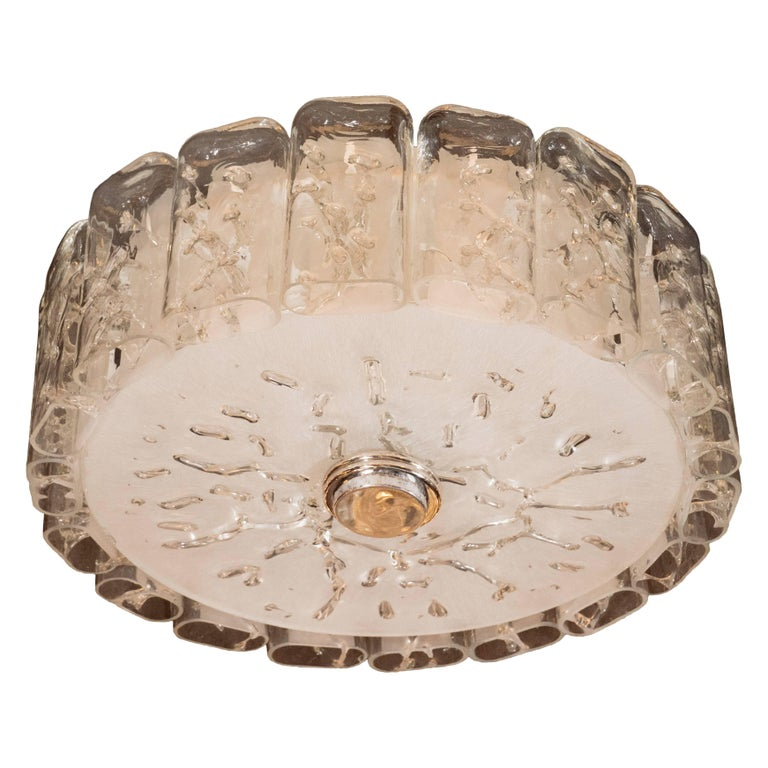 Mid-Century Modern Flush Mount Chandelier in Frosted and Textured Glass by Doria In Excellent Condition For Sale In New York, NY