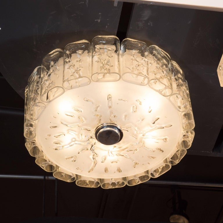 Mid-20th Century Mid-Century Modern Flush Mount Chandelier in Frosted and Textured Glass by Doria For Sale