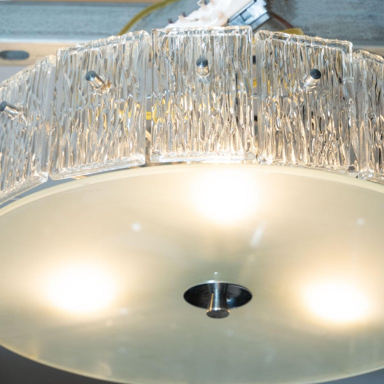 German Mid-Century Modern Flush Mount Frosted Glass and Nickel Chandelier by Kinkeldey For Sale