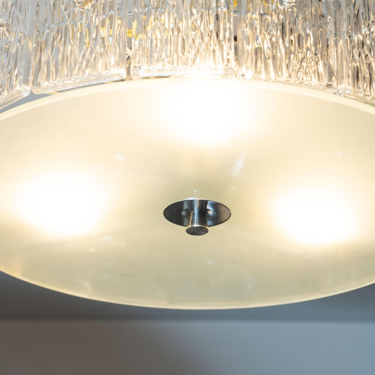 Mid-Century Modern Flush Mount Frosted Glass and Nickel Chandelier by Kinkeldey In Excellent Condition For Sale In New York, NY