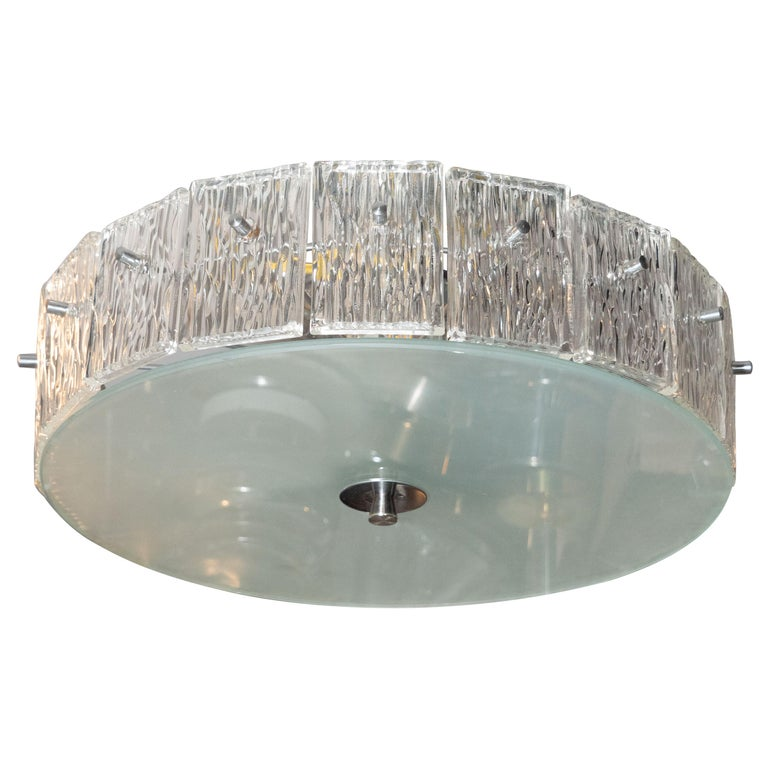 Mid-Century Modern Flush Mount Frosted Glass and Nickel Chandelier by Kinkeldey For Sale