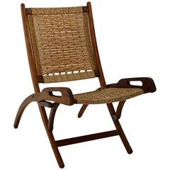 Mid-Century Modern Folding Beech Vintage Chair Style Gio Ponti, 1960s, Italy