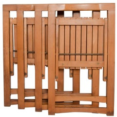 Mid-Century Modern Folding Carry Set of 4 Slatted Wood Chairs, Romania