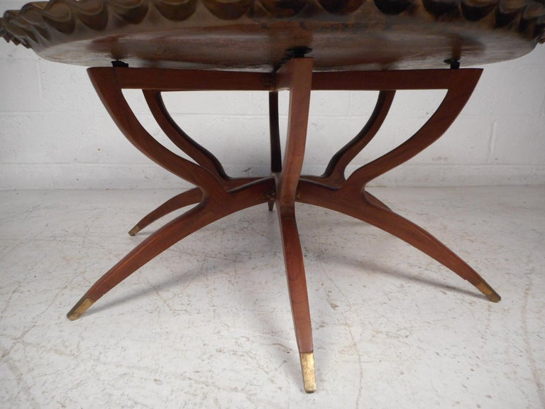 20th Century Mid-Century Modern Folding Cocktail Table with Brass Tabletop For Sale