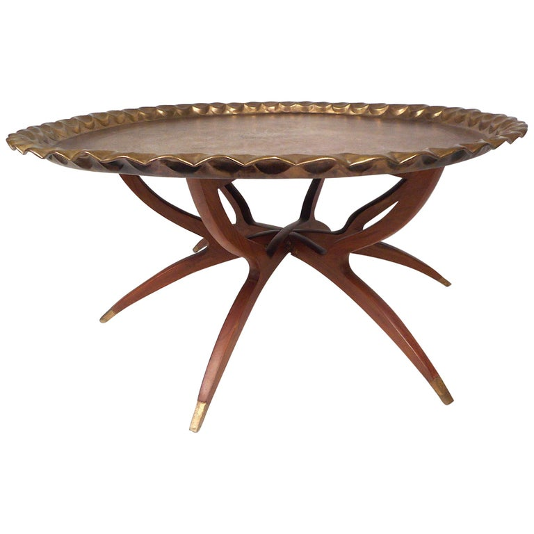 Mid-Century Modern Folding Cocktail Table with Brass Tabletop For Sale