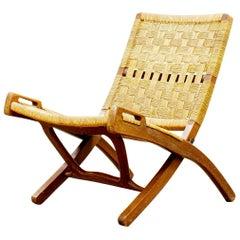 Mid-Century Modern Folding Lounge Paper Cord Chair, after Hans Wegner