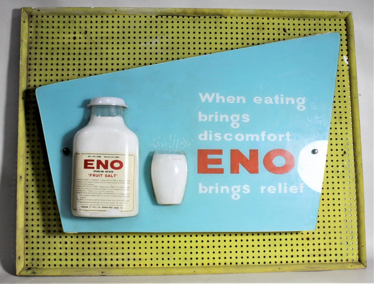 South African Mid-Century Modern Folk Art Eno Antacid Advertising Sign For Sale