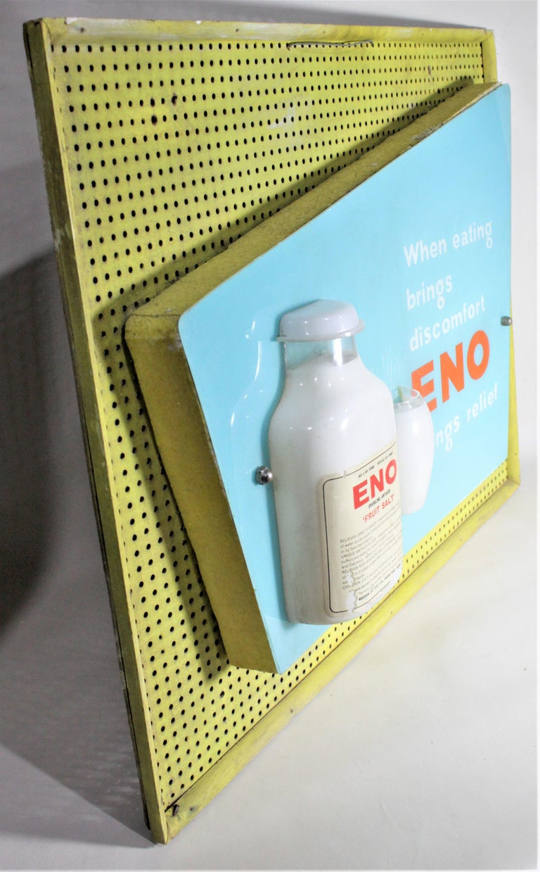 Mid-Century Modern Folk Art Eno Antacid Advertising Sign In Good Condition For Sale In Hamilton, Ontario