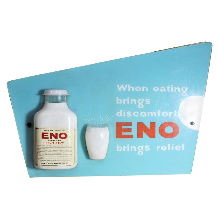 Mid-Century Modern Folk Art Eno Antacid Advertising Sign For Sale