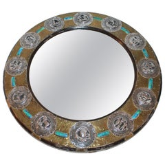 Mid-Century Modern Folk Art Sterling Silver and Brass on Wood Mirror