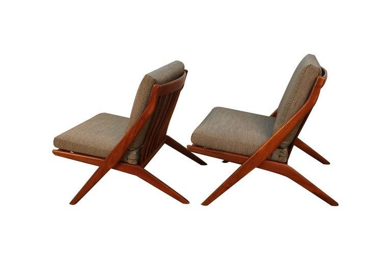 Swedish Mid-Century Modern Folke Ohlsson Dux Scissor Lounge Chairs, Pair For Sale