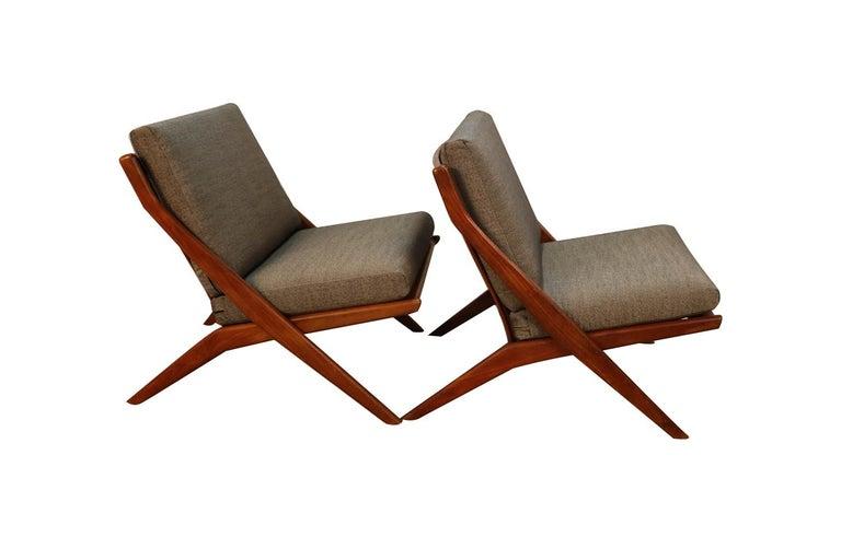 Mid-20th Century Mid-Century Modern Folke Ohlsson Dux Scissor Lounge Chairs, Pair For Sale