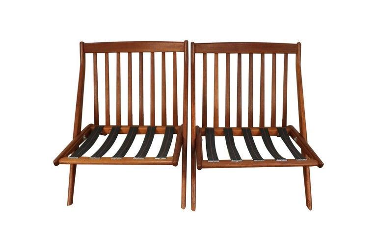 Walnut Mid-Century Modern Folke Ohlsson Dux Scissor Lounge Chairs, Pair For Sale