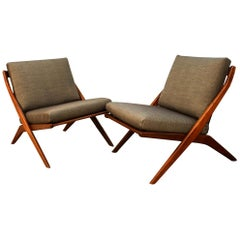 Mid-Century Modern Folke Ohlsson Dux Scissor Lounge Chairs, Pair