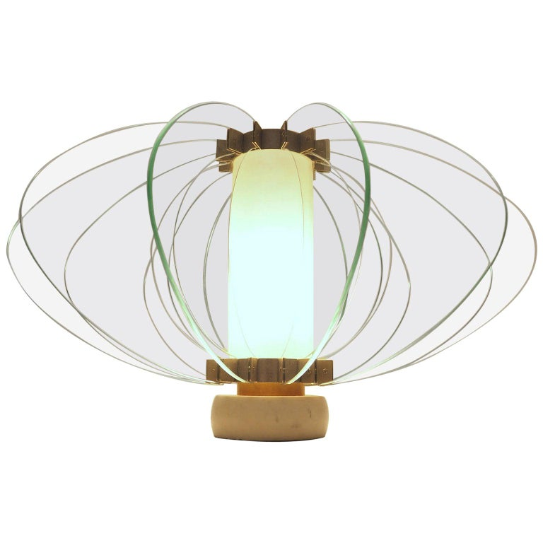 Mid-Century Modern Fontana Arte Attribuited Large Glass Table Lamp, Milano 1960s For Sale