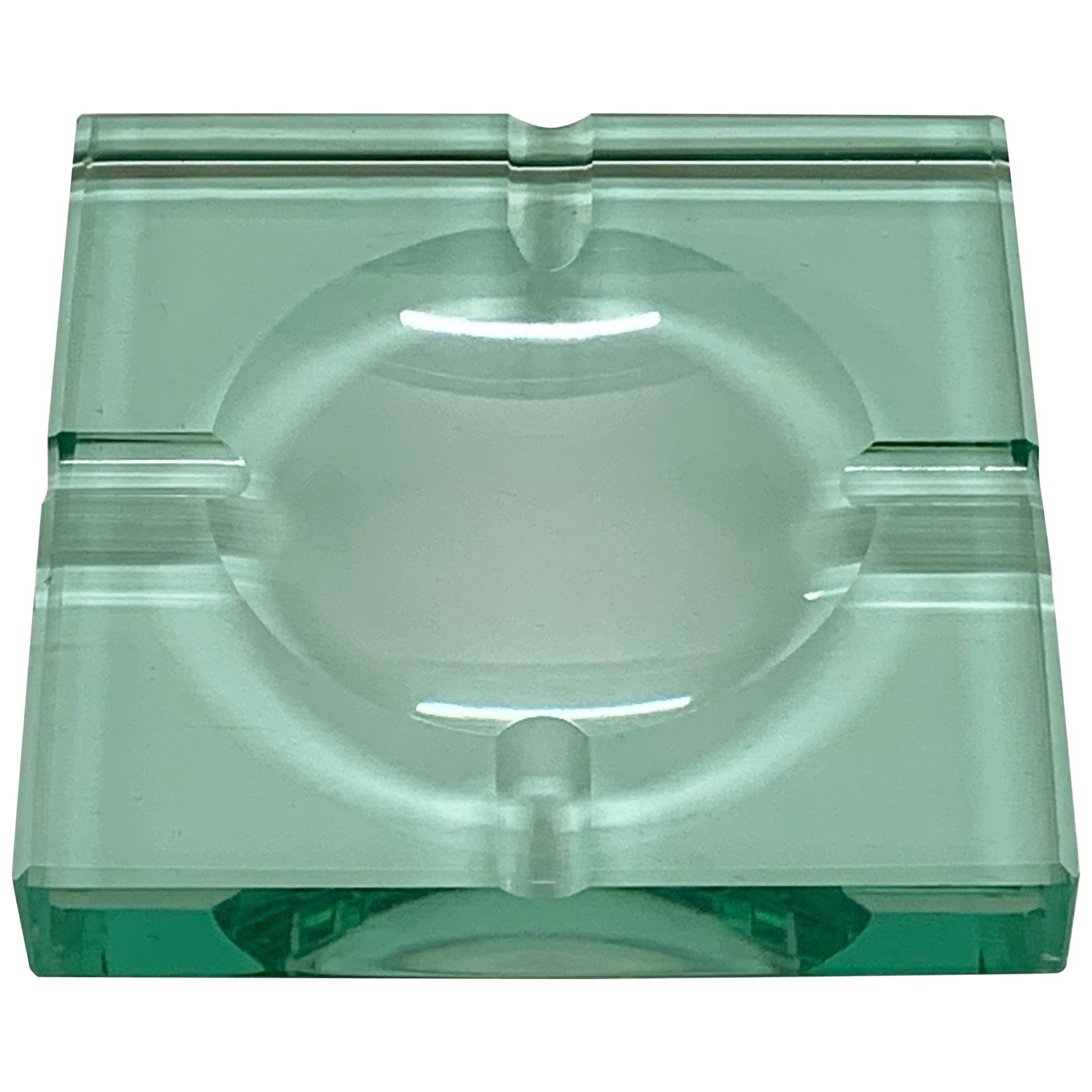 Mid-Century Modern Fontana Arte Green Crystal Glass Squared Italian Ashtray