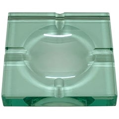 Mid-Century Modern Fontana Arte Green Crystal Glass Squared Italian Ashtray