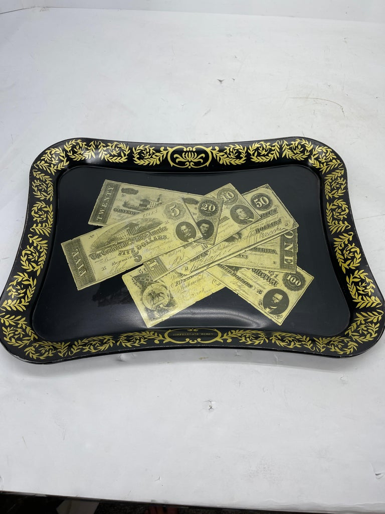 American Mid-Century Modern Fornasetti Style Metal Tray with Confederate Money Notes For Sale