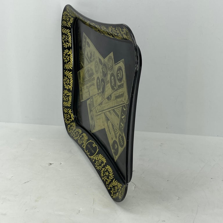 Hand-Painted Mid-Century Modern Fornasetti Style Metal Tray with Confederate Money Notes For Sale