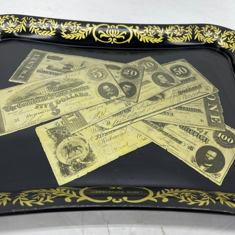 Mid-20th Century Mid-Century Modern Fornasetti Style Metal Tray with Confederate Money Notes For Sale