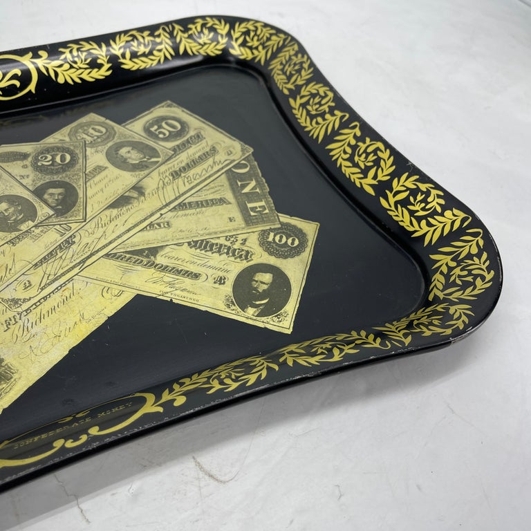 Sheet Metal Mid-Century Modern Fornasetti Style Metal Tray with Confederate Money Notes For Sale
