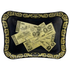 Mid-Century Modern Fornasetti Style Metal Tray with Confederate Money Notes