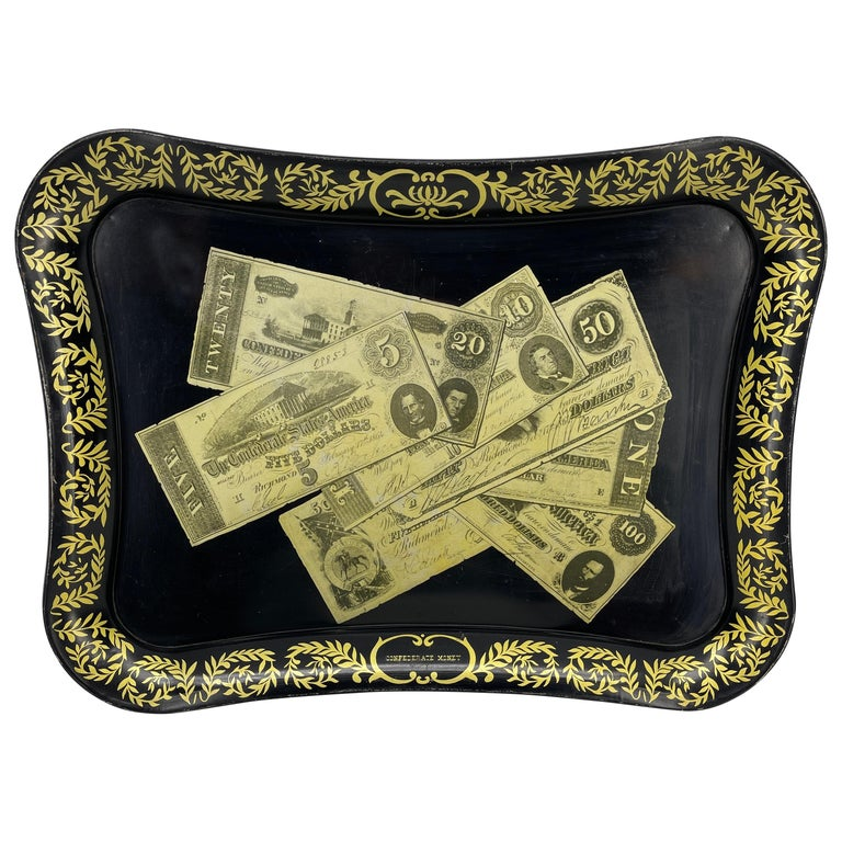 Mid-Century Modern Fornasetti Style Metal Tray with Confederate Money Notes For Sale